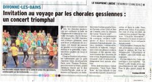 article Dauphiné du 13 mai